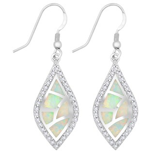 La Preciosa Sterling Silver White Opal and Cubic Zirconia Marquise Earrings