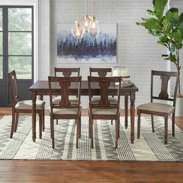 Simple Living 7 Piece Burntwood Dining Set Overstock 9625976