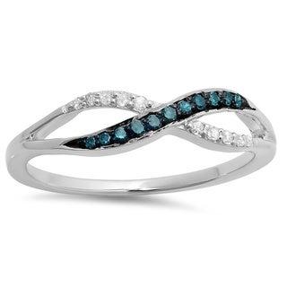 14k White Gold 1/6ct TDW Blue and White Diamond Twist Ring (I-J, I2-I3)