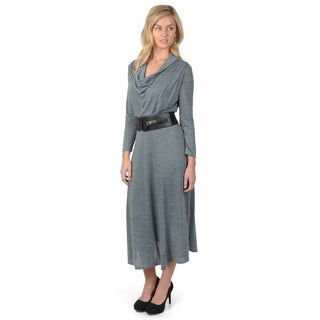 Sangria Women's Cowl Neck Cropped Sleeve Belted Midi Dress