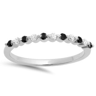 10k White Gold 1/4ct TDW Black and White Diamond Stackable Wedding Band (I-J, I2-I3)