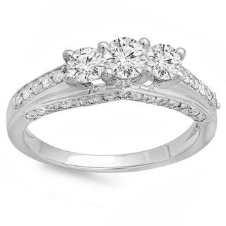 14k White Gold Round-cut 1 1/4ct TDW Diamond Engagement Ring (H-I, I1-I2)