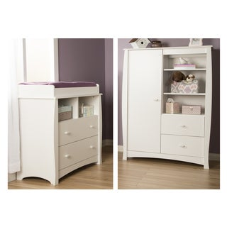 Beehive Pure White Changing Table with Removable Changing Station and Armoire with Drawers