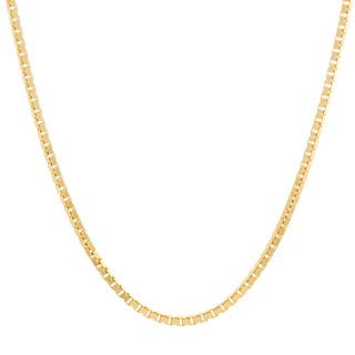 Sterling Essentials Yellow Gold Over Silver Venetian Box Chain