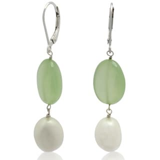 Gioelli Sterling Silver Prehnite Gemstone Freshwater Pearl Leverback Dangle Earring