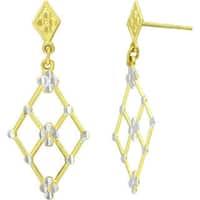 14k Two-tone Diamond-cut Marquise Drop Earrings