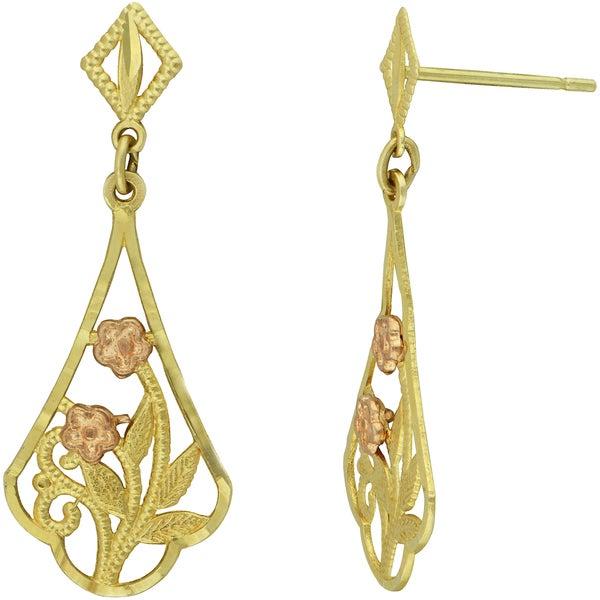 14k Two-tone Filigree Flower Dangle Earrings