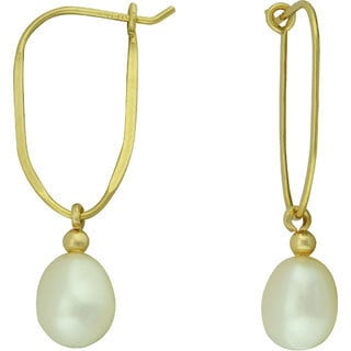Charming 14k Yellow Gold White Pearl and Gold Bead Dangle Earrings