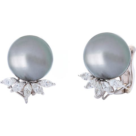 Pre-owned 18k White Gold 4/5ct TDW Giant Pearl Estate Earrings (H-I, VS1-VS2)