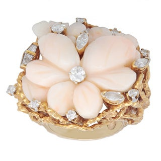 Pre-owned 14k Yellow Gold 4/5ct TDW Coral Rose Nugget Finish Cocktail Ring (I-J, SI1-SI2)