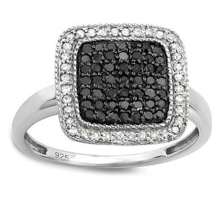 Elora Sterling Silver 1/2ct TDW Black and White Diamond Right-hand Cocktail Ring (I-J, I2-I3)