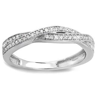 Elora 10k White Gold 1/4ct TDW Round Diamond Anniversary Wedding Band Swirl Matching Ring (H-I, I1-I2)