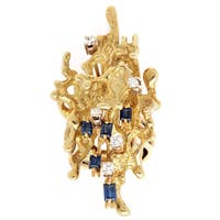 18K Yellow Gold 1/7ct TDW Diamond and Sapphire Nugget Ring (H-I, SI1-SI2)