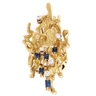 Pre-owned 18K Yellow Gold 1/7ct TDW Diamond and Sapphire Nugget Ring (H-I, SI1-SI2)