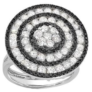 14k White Gold 2 3/5ct TDW Black and White Diamond Pave Cocktail Ring (H-I, I1-I2)