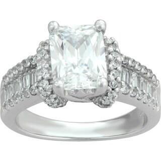 Sterling Silver Emerald-cut Cubic Zirconia Bridal Ring