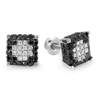 Elora Sterling Silver 1ct TDW Black and White Diamond Micro-pave Stud Earrings (H-I, I1-I2)