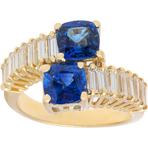 18k Yellow Gold 1ct TDW Sapphire and Diamond Cocktail Ring (H-I, SI1-SI2)