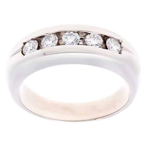 Platinum 3/5ct TDW 5-stone Diamond Estate Ring (H-I, VS1-VS2)