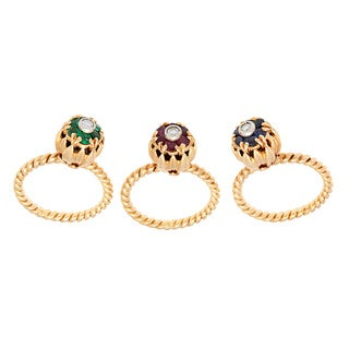 Pre-owned 18K Yellow Gold 1/7ct TDW Multi-gemstone Rope Stackable Floral Estate Rings (G-H, SI1-SI2)