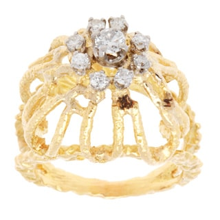 Pre-owned 18k Yellow Gold 1/2ct TDW Nugget Style Estate Dome Ring (H-I, SI1-SI2)