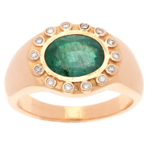 22K Yellow Gold 1/4ct TDW Diamond Jumbo Estate Emerald Cocktail Ring (I-J, SI1-SI2)