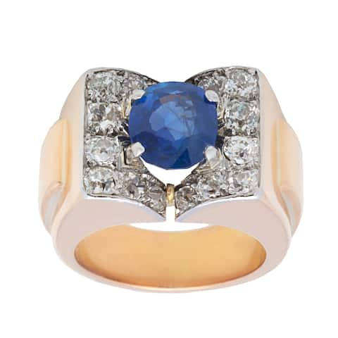 18k Yellow Gold 1 3/4ct TDW Sapphire Deco Estate Ring (H-I, SI1-SI2)