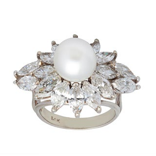 Pre-owned 14k White Gold 6ct TDW Pearl and Diamonds Estate Cocktail Ring (G-H, VS1-VS2) (9-10 mm)