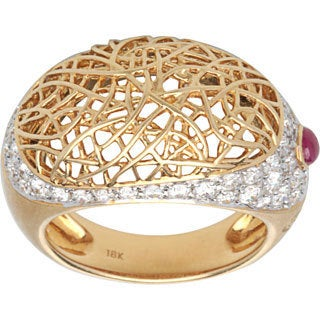 Pre-owned 18k Yellow Gold 1 1/4ct TDW White Diamond Wired Dome Estate Ring (G-H, VS1-VS2)