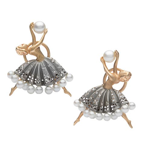 14k Yellow Gold 1/5ct TDW Diamond FW Pearl Ballerina Estate Earrings (H-I, SI1-SI2)