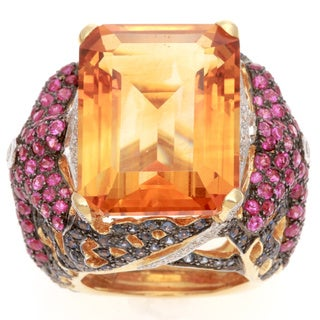 Pre-owned 18k Yellow Gold 1/3ct TDW Diamond and Citrine Estate Ring (H-I, SI1-SI2)