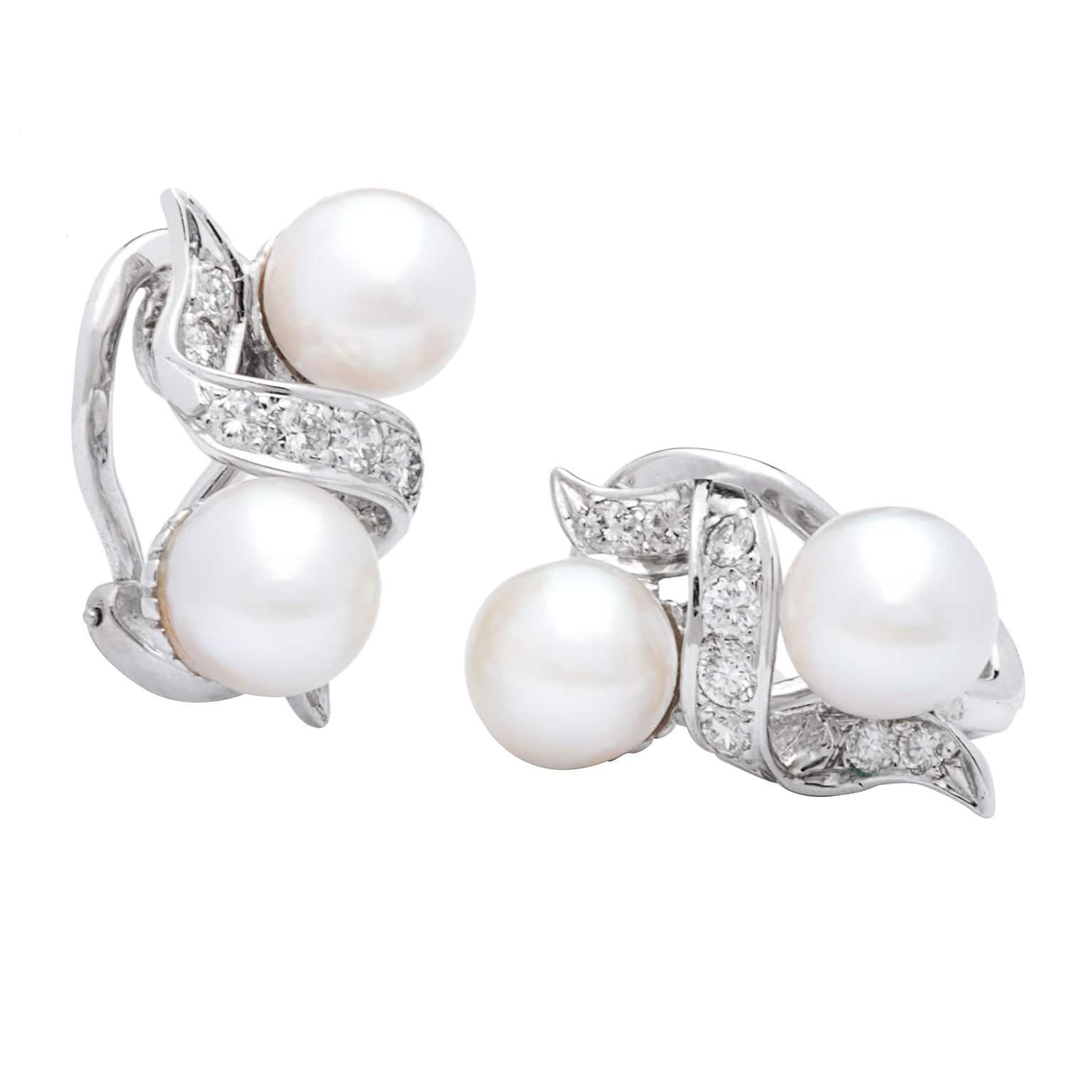 Pre-owned 14k White Gold 1/2ct TDW Cultured Pearl and Diamonds Estate Earrings (G-H, SI1-SI2) (7-8 mm)