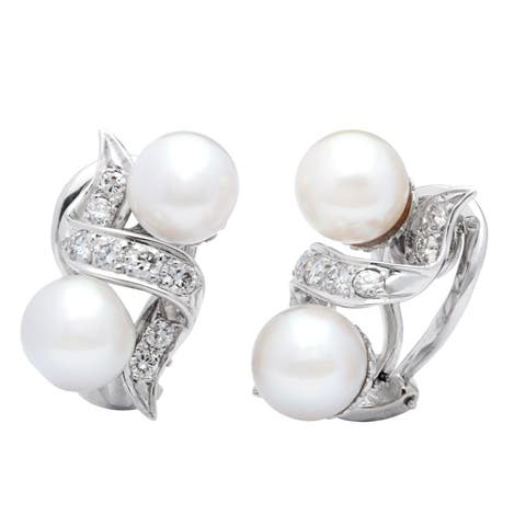 14k White Gold 1/2ct TDW Cultured Pearl Diamonds Estate Earrings (G-H, SI1-SI2)