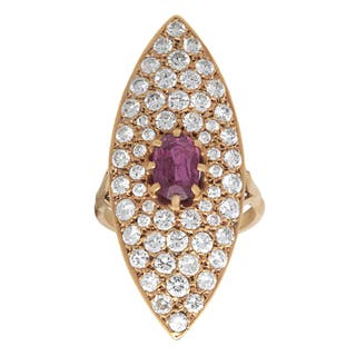 Pre-owned 18k Yellow Gold 3ct TDW Pave-set Diamond Ruby Cocktail Ring (F-G, SI1-SI2)|https://ak1.ostkcdn.com/images/products/9626186/P16812297.jpg?impolicy=medium