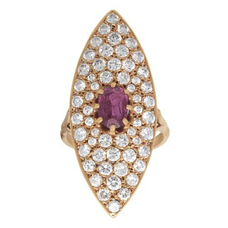 Pre-owned 18k Yellow Gold 3ct TDW Pave-set Diamond Ruby Cocktail Ring (F-G, SI1-SI2)