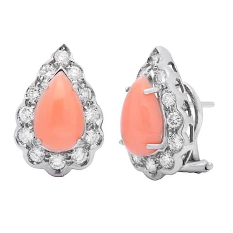 18k White Gold 1 1/2ct TDW DiamondCoral Estate Earrings