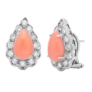 Pre-owned 18k White Gold 1 1/2ct TDW Diamond and Coral Estate Earrings (H-I, SI1-SI2)|https://ak1.ostkcdn.com/images/products/9626187/P16812298.jpg?impolicy=medium