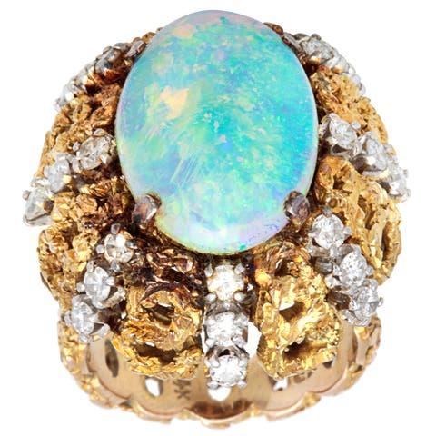 18k Yellow Gold 1 1/4ct TDW Diamond Opal Nugget Cocktail Estate Ring