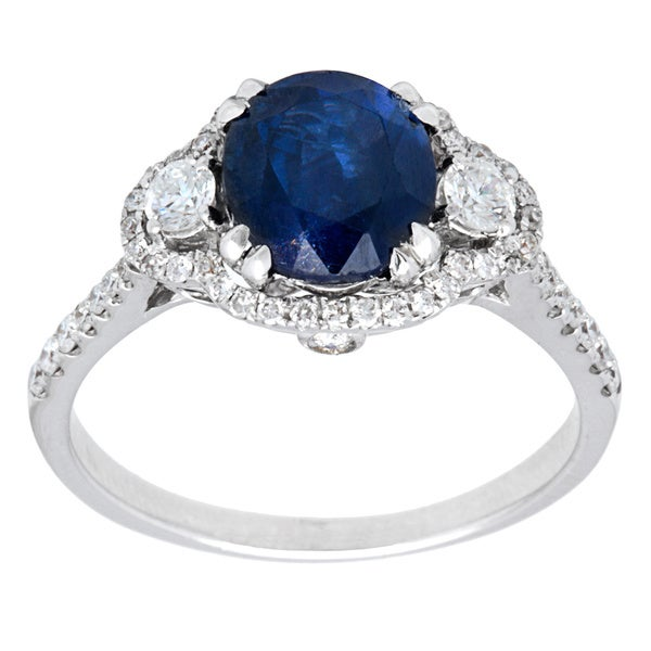 Pre-owned 14k White Gold 1/2ct TDW Diamond Sapphire Estate Ring (G-H, SI1-SI2) (Size 6)
