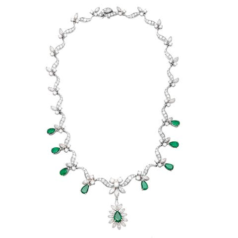 Pre-owned Platinum 14ct TDW Diamond and Fancy Emerald Estate Necklace (G-H, VS1-VS2)