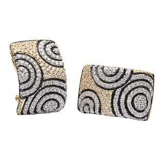 Pre-owned 18k Yellow Gold 2 1/5ct TDW Pave Diamond Estate Cuff Earrings (G-H, VS1-VS2)