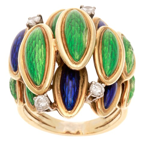 Pre-owned 18k Yellow Gold 1/4ct TDW Diamond and Overlapping Enamel Leaf Estate Ring (H-I, SI1-SI2)