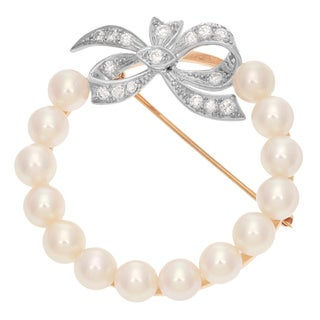 Pre-owned 14k Two-tone Gold 1/2ct TDW Diamond and White Pearl Ribbon Estate Pin (H-I, SI1-SI2)