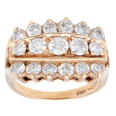 Pre-owned 14k Yellow Gold 2 1/2ct TDW 3-row Diamond Estate Ring (G-H, SI1-SI2) (Size 6)