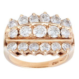Pre-owned 14k Yellow Gold 2 1/2ct TDW 3-row Diamond Estate Ring (G-H, SI1-SI2) (Size 6)|https://ak1.ostkcdn.com/images/products/9626219/P16812328.jpg?_ostk_perf_=percv&impolicy=medium