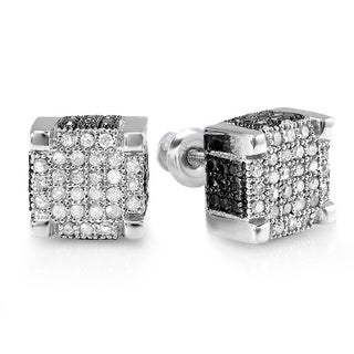 Sterling Silver Men's 1ct TDW Black and White Diamond Micro-pave Ice Cube Hip Hop Stud Earrings (H-I, I1-I2)