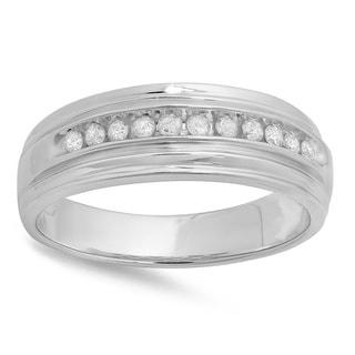 Elora Sterling Silver 1/4ct TDW White Round Diamond Men's Channel Set Wedding Band (I-J, I2-I3)