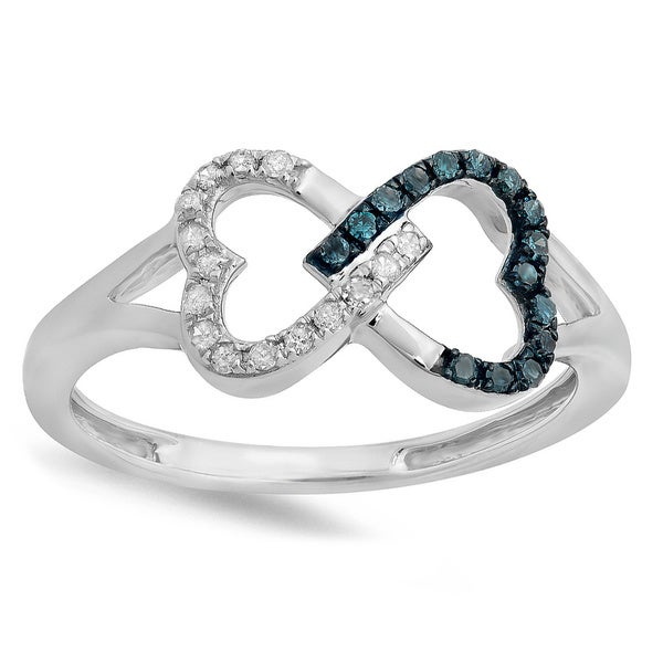 Elora Sterling Silver 1/6ct TDW Round White and Blue Diamond Heart Infinity Ring