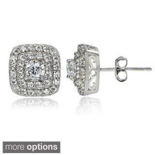 ICZ Stonez Silver 2 1/5ct TGW Cubic Zirconia Stud Earrings