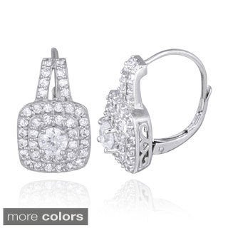 ICZ Stonez Silver 2 1/5ct TGW Cubic Zirconia Leverback Earrings
